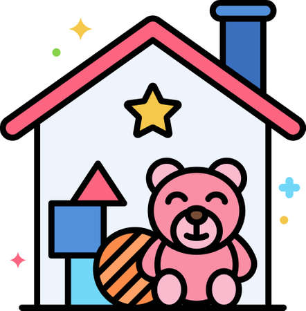 Line vector icon of playroom. Illustration of children toys and plush bear inside a house. Isolation and quarantine concept.