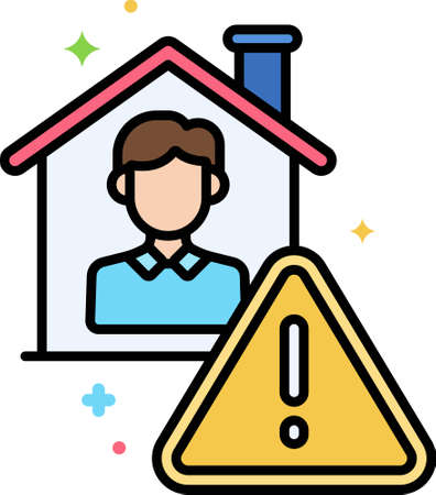 Line vector icon illustration of a male inside the house and warning sign. Mandatory isolation concept.