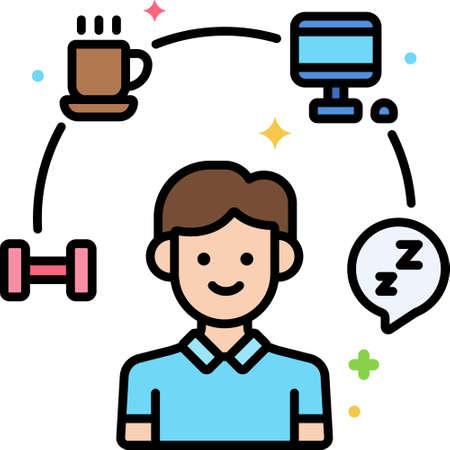 Line vector icon of daily routine. Illustration of a male surrounding with activity symbols.