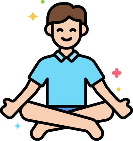 Line vector icon illustration of a male doing meditation in lotus pose 向量圖像