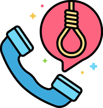 Line vector icon of suicide prevention helpline. Illustration of a phone and rope noose in speech bubble.