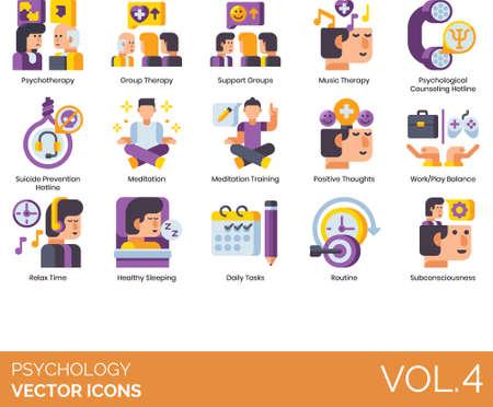 Flat icons of psychology, psychotherapy, psychological counseling hotline, suicide prevention hotline Ilustração