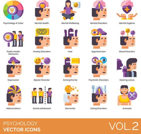 Flat icons of psychology study, disorder, symptoms, mental illness Vektorové ilustrace