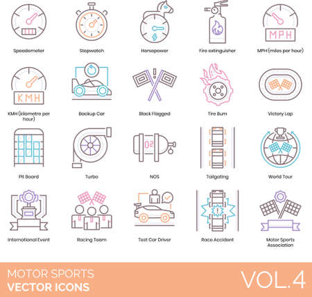 Line icons of motor sports association, speedometer, speed and acceleration, international event