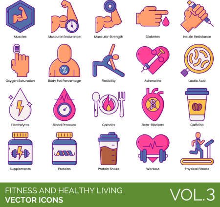Line icons of fitness and healthy living, muscular strength, protein shake, workout