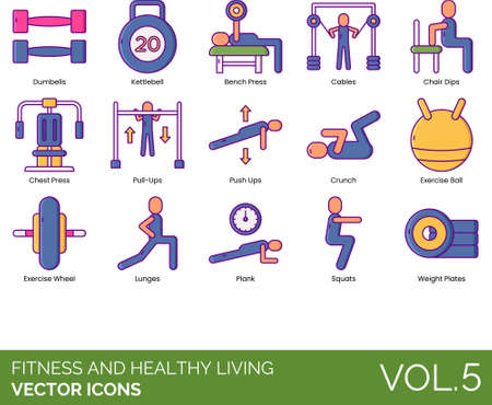 Line icons of fitness and healthy living, gym equipment, workout
