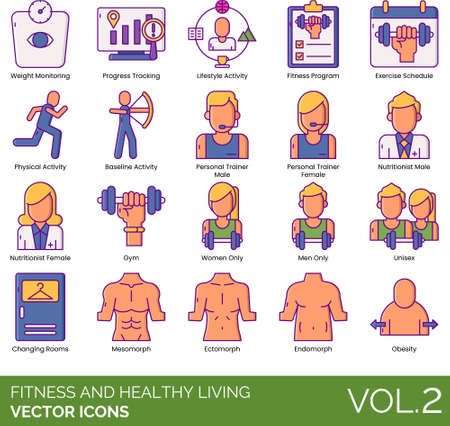 Line icons of fitness and healthy living, fitness program, personal trainer, body type 向量圖像