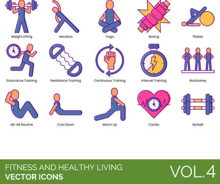 Line icons of fitness and healthy living, exercise, training, cardio, bootcamp