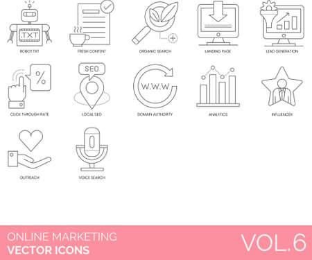 Line icons of online marketing, website marketing, click through rate, analytics, influencer 向量圖像