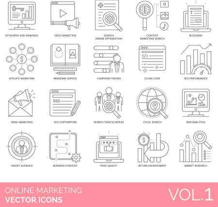 Line icons of online marketing service, business strategy, SEO, web analytics, branding