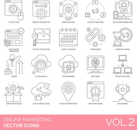 Line icons of online marketing business strategy, website optimization, private network, service package 向量圖像