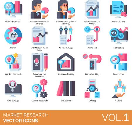 Flat icons of market research, analytics, surveys, benchmark, coding