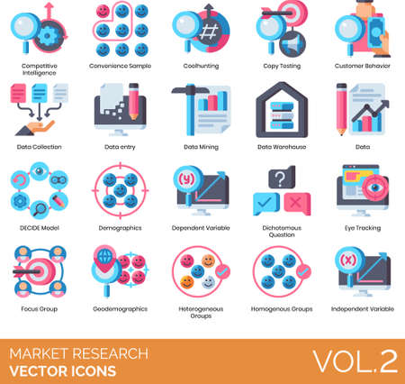 Flat icons of market research, data entry, demographics, variable