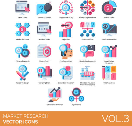 Flat icons of market research, longitudinal study, privacy policy, SOWT analysis Stock fotó - 153296612