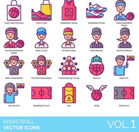 Line icons of basketball player, merchandise, court, referee, mascot Ilustración de vector