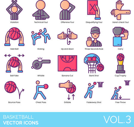 Line icons of basketball violation, rules, award, dribble