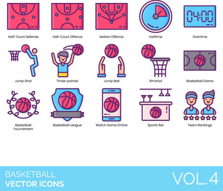 Line icons of basketball scheme, overtime, tournament, online game, sports bar