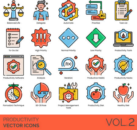 Line icons of productivity and work performance, balanced life, productivity software, analysis, management tools, strategy