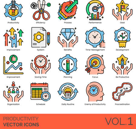 Line icons of productivity and work performance, efficiency, development, organization, schedule