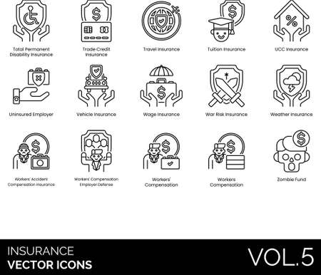 Line icons of insurance category, uninsured employer, workers compensation, zombie fund Vetores