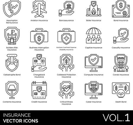Line icons of insurance category, investment and protection, death bond