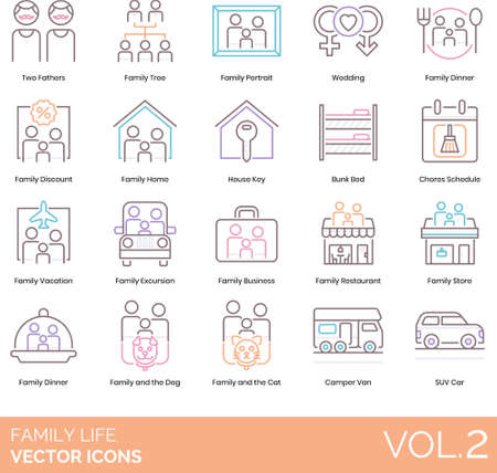 Line icons of family life, events, home, pets, transportation Vetores