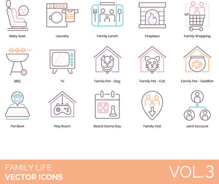 Line icons of family life, home, household appliances, events, pets, activities