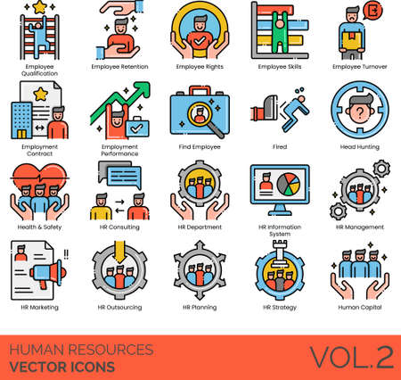 Line icons of human resources management, employee rights, headhunting, HR department, human capital