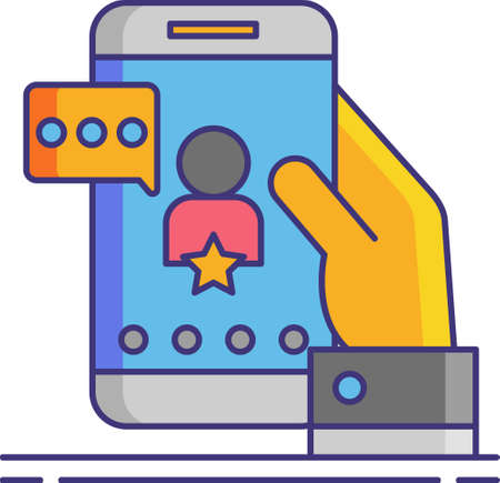 Line vector icon illustration of celebrity influencer on smartphone screen. Social media agency concept.