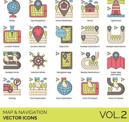 Line icons of maps and navigation, app, location marker, destination, point of interest. Ilustrace