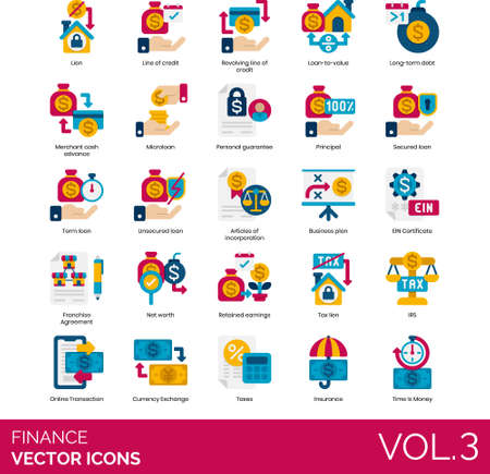Flat icons of finance and accounting, lien, loan, taxes, online transaction, insurance Ilustração