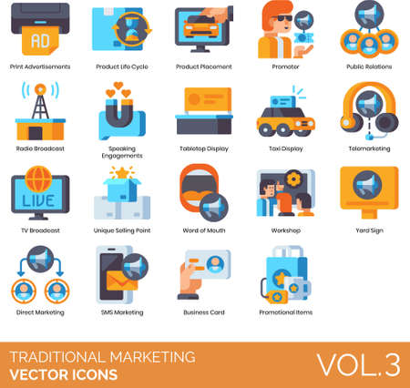 Flat icons of traditional marketing and advertising, product placement, public relations, unique selling point, workshop