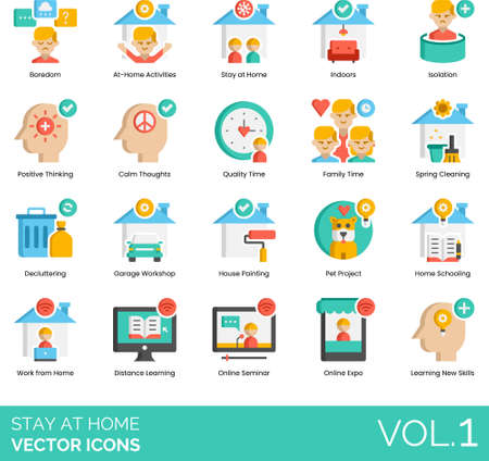 Flat icons of stay at home order, house activities, quarantine and self-isolation during pandemic
