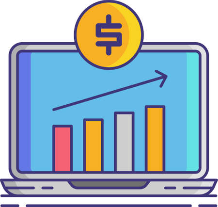 Line vector icon of paid traffic. Illustration of ascending bar graph with money sign on laptop screen. Social media agency concept. Vectores
