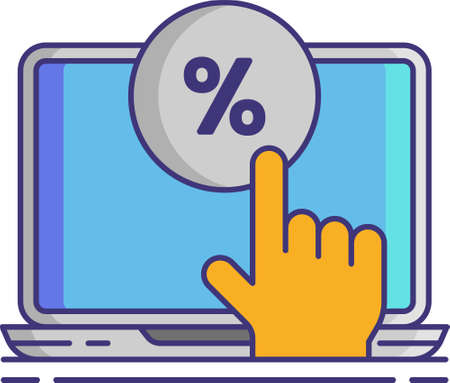 Line vector icon of CTR click through rate. Illustration of a finger touch percentage button on laptop screen. Social media agency concept.