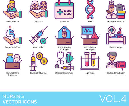 Line icons of nursing service, education, physiotherapy, treatment package