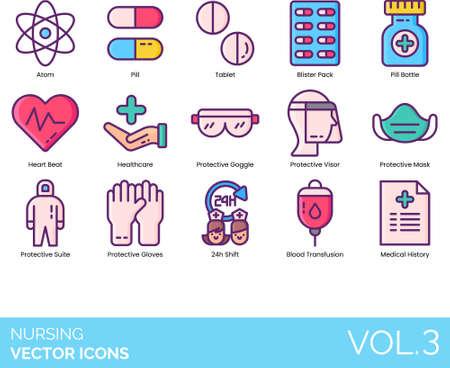Line icons of nursing service, medicine, blood transfusion, protective equipment