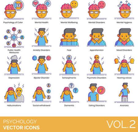 Line icons of psychology study, disorder, symptoms, mental illness 일러스트