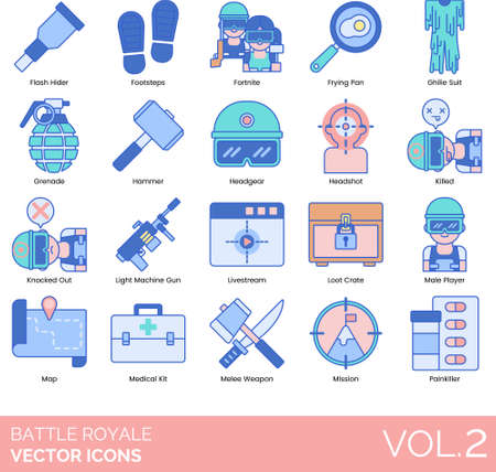 Line icons of battle royale video game, esports, equipment, mission, medicine