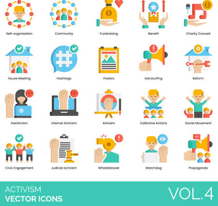 Flat icons of activism and human rights movement, hacktivism, civic engagement, propaganda