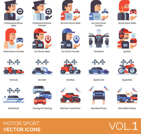 Flat icons of motor sports competition, professional driver and co-driver, racing show, vehicles