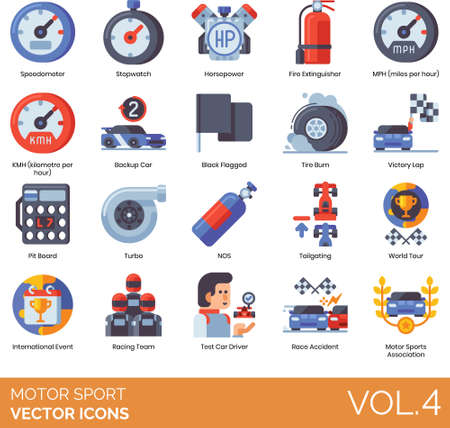 Flat icons of motor sports association, speed and acceleration, pit board, world tour, association