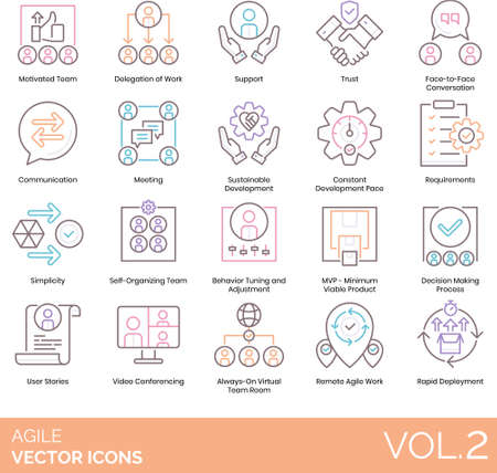 Line icons of agile software development, team, minimum viable product, decision making