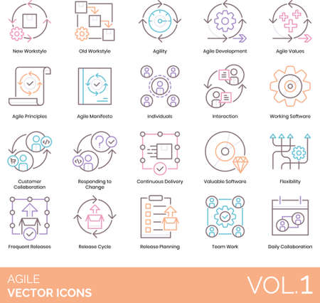 Line icons of agile software development, principles, customer collaboration, release