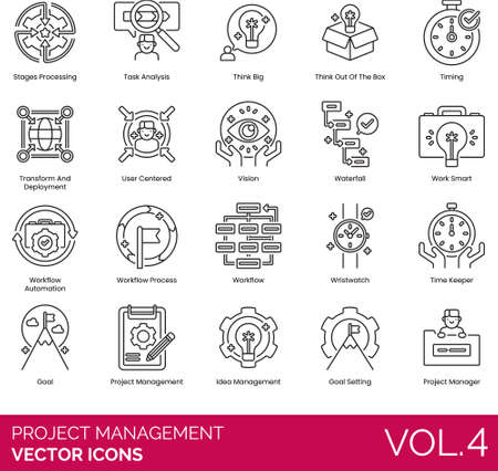 Line of project management, task analysis, transform and deployment, workflow automation, timekeeper, goal