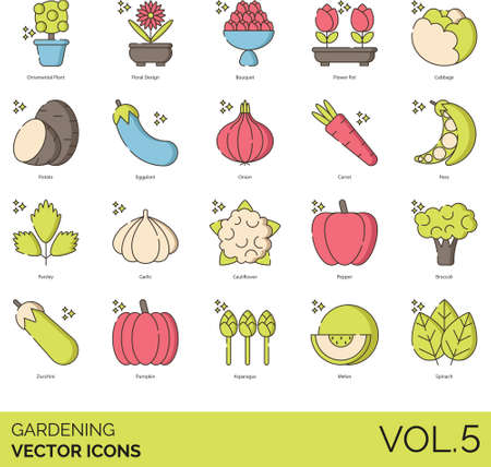 Line icons of gardening, ornamental plant, floral design, vegetables and fruits