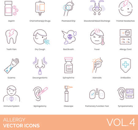 Line icons of allergy symptoms, treatment, medical devices