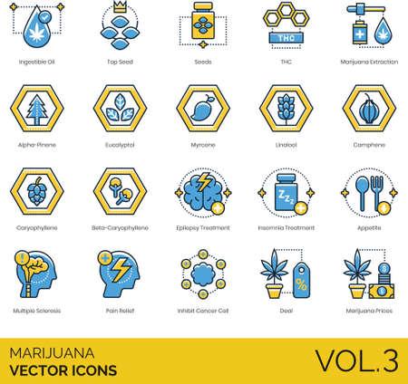 Line icons of marijuana, THC, substance, medical treatment