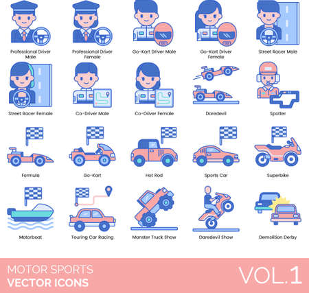 Line icons of motor sports competition, professional driver, racing show, demolition derby