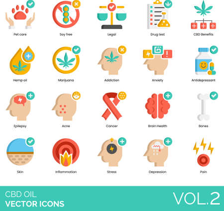 Flat icons of CBD oil, drug test, CBD benefits, marijuana, treatment
